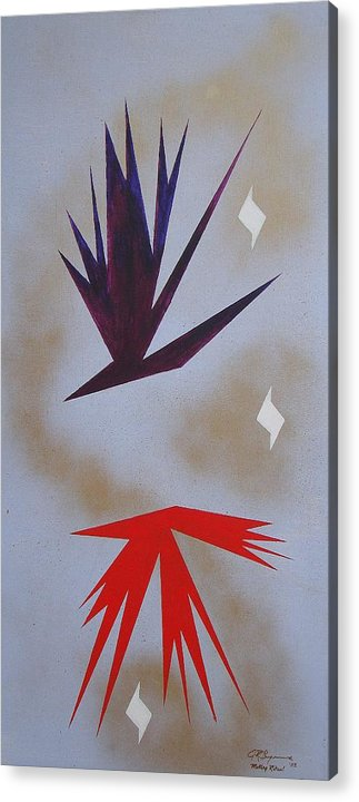 Birds Acrylic Print featuring the painting Mating Ritual by J R Seymour
