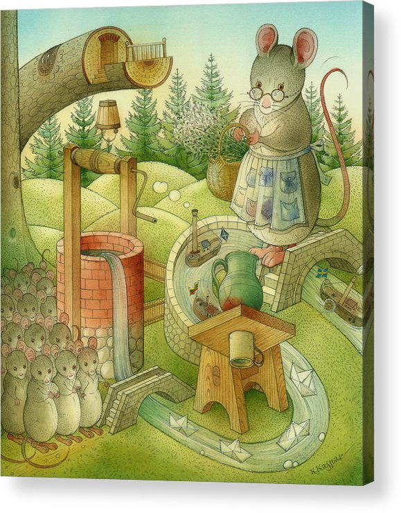 Landscape Acrylic Print featuring the painting Wrong World by Kestutis Kasparavicius