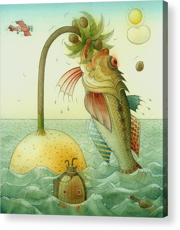 Fish Sea Landscape Acrylic Print featuring the painting Fish by Kestutis Kasparavicius