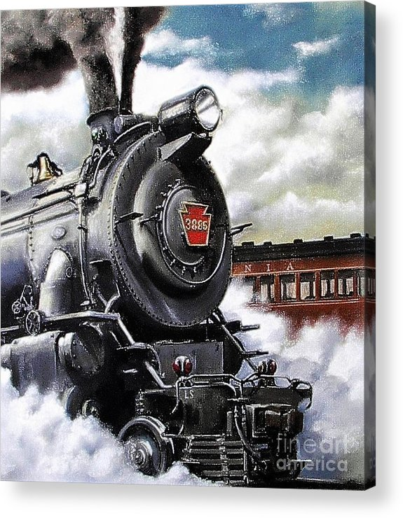 Pennsylvania Railroad Train Painting Railroad Maryland And Pennsylvania Autumn Fall Colors Steam Engine Acrylic Print featuring the painting Pennsy #3885 by David Mittner