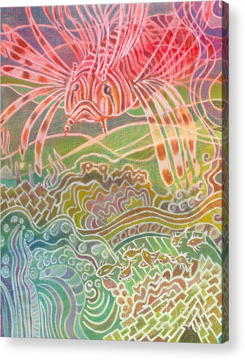 Fish Acrylic Print featuring the painting Lionfish Roams by Amelia at Ameliaworks