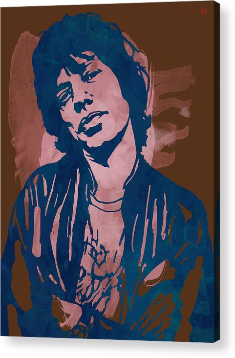 Sir Michael Philip Jagger Acrylic Print featuring the drawing Mick Jagger - Pop Stylised Art Sketch Poster by Kim Wang