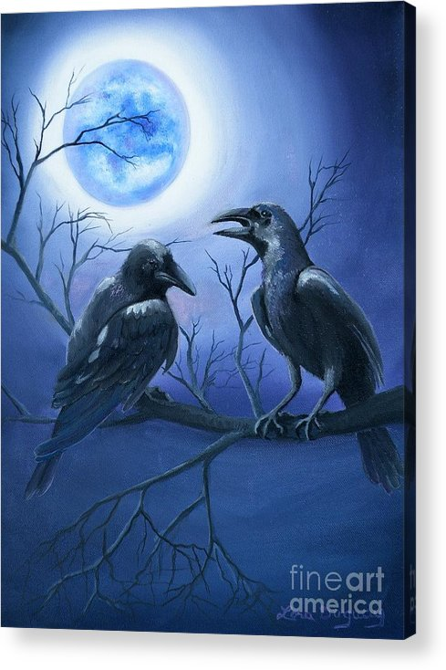 Ravens Acrylic Print featuring the painting Raven's Moon by Lora Duguay