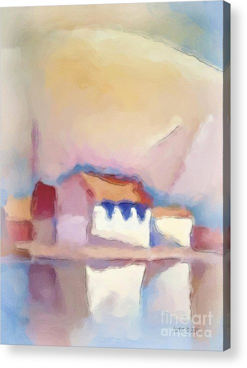Watercolor Acrylic Print featuring the painting Reflection by Lutz Baar