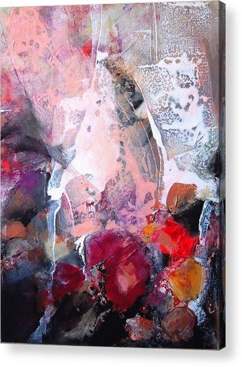 Abstract Acrylic On Canvas Acrylic Print featuring the mixed media The Warming by Jo Ann Brown-Scott