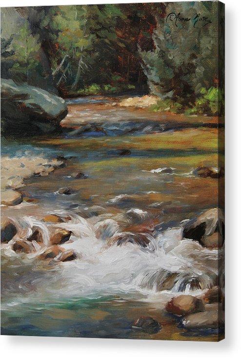 Plein Air Acrylic Print featuring the painting Mountain Stream by Anna Rose Bain
