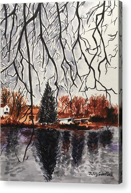 Landscape Acrylic Print featuring the painting Autumn in Upstate by Judy Swerlick