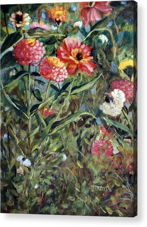Floral Acrylic Print featuring the painting Bed of Zinnias by Jimmie Trotter
