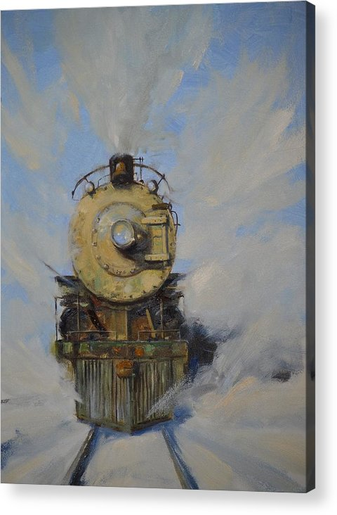 Steam Locomotive Acrylic Print featuring the painting Cool Running by Greg Clibon