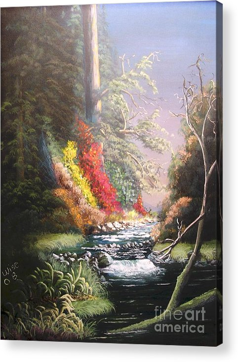 Landscape Acrylic Print featuring the painting Huckleberry Creek by John Wise