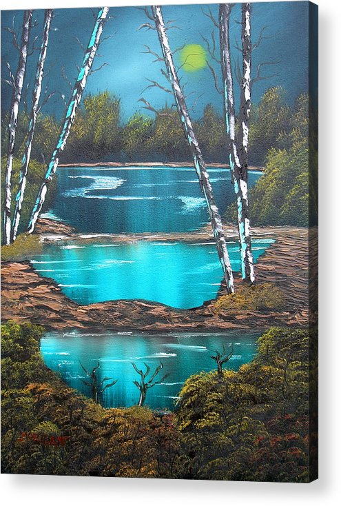 Landscape Acrylic Print featuring the painting Midnight Ponds by Sheldon Morgan
