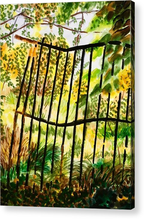 Gate Acrylic Print featuring the painting Old Bent Gate by Judy Swerlick