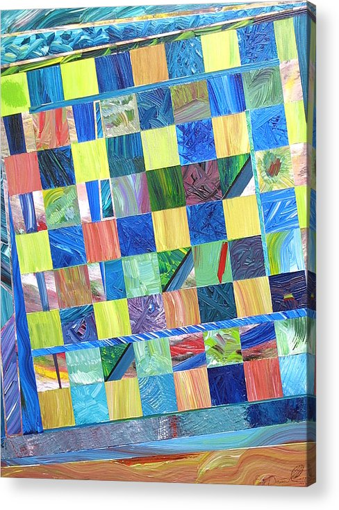 Sanctuary Acrylic Print featuring the painting The Stained Glass sanctuary by Eric Devan