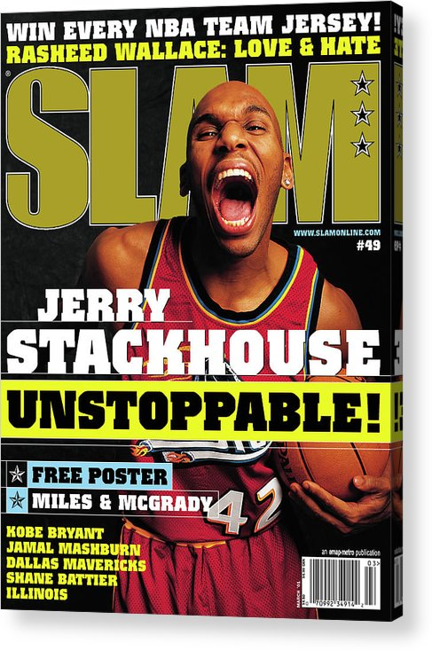 Jerry Stackhouse Acrylic Print featuring the photograph Jerry Stackouse: Unstoppable! SLAM Cover by Getty Images