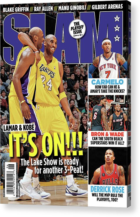 Kobe Bryant Acrylic Print featuring the photograph Lamar & Kobe: It's On!!! SLAM Cover by Getty Images