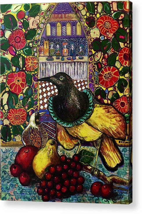 Crow Acrylic Print featuring the painting Medieval dinner by Marilene Sawaf