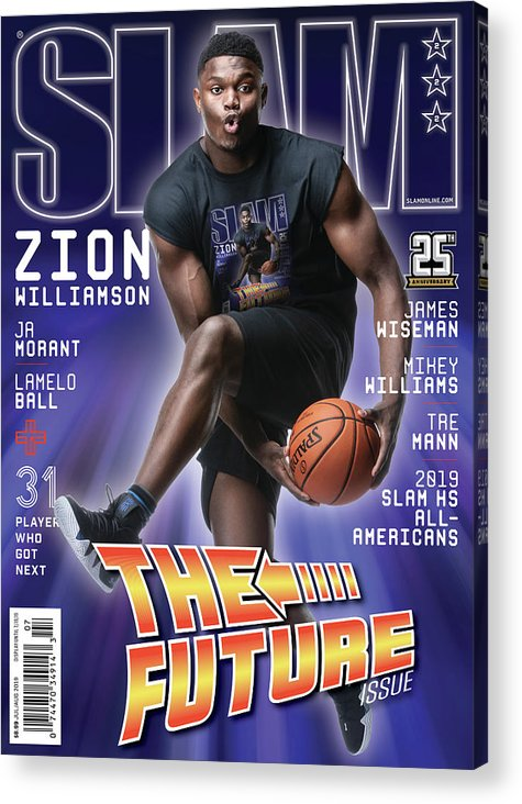 Zion Williamson Acrylic Print featuring the photograph Zion Williamson: The Future Issue SLAM Cover by Matthew Coughlin