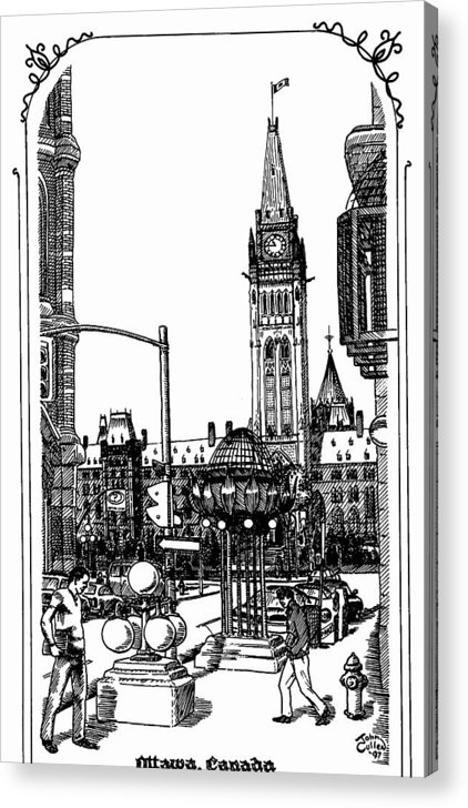 Cityscape Acrylic Print featuring the mixed media Peace Tower Parliament Hill Ottawa 1995 by John Cullen