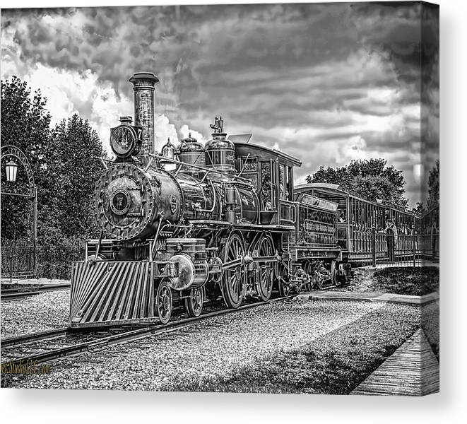 Limited Time Promotion:  Locomotive Steam Black And White Stretched Canvas Print