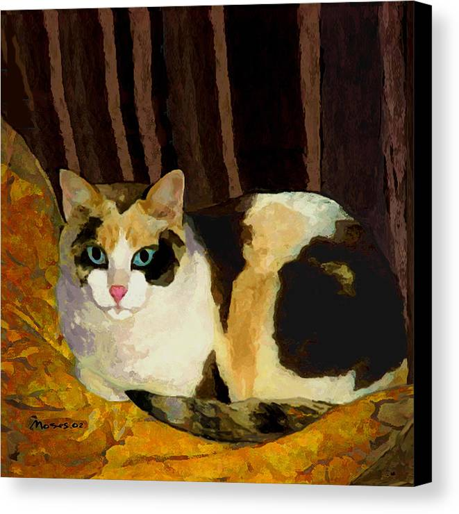 Cat Canvas Print featuring the painting Miss Tillie On A Pillow Bright by Dale Moses