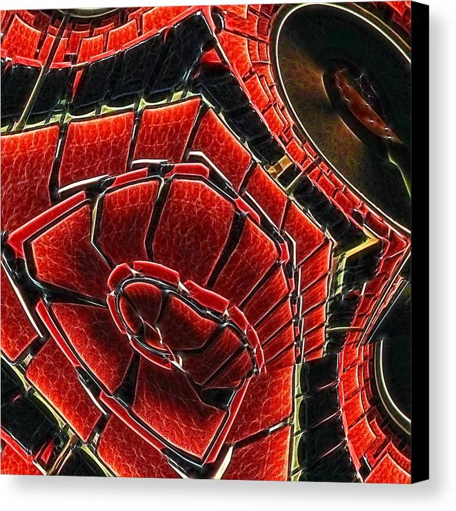 Red Canvas Print featuring the digital art Seating Arrangement by Wendy J St Christopher