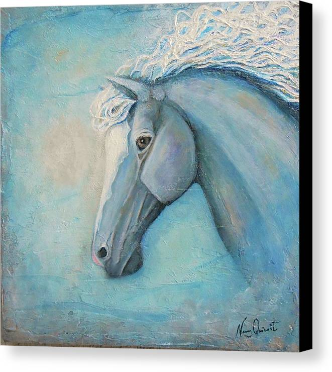 Horse Painting Canvas Print featuring the painting Air by Nancy Quiaoit