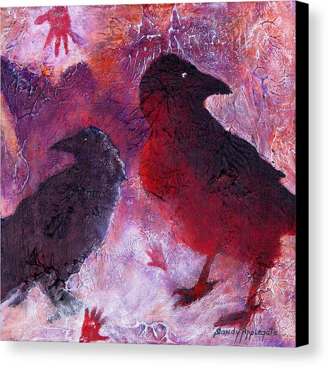 Raven Canvas Print featuring the painting Petro Raven by Sandy Applegate