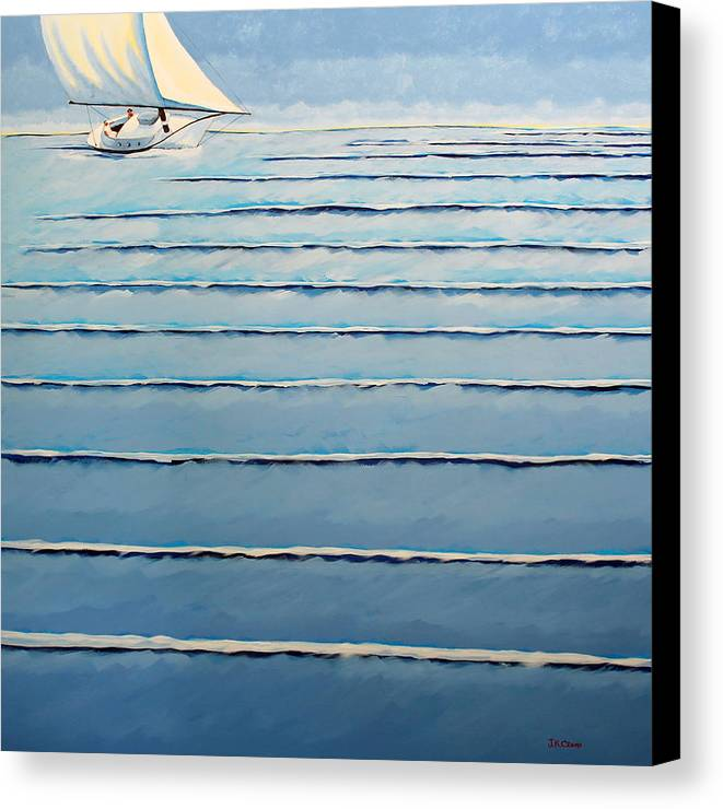 Sailing Canvas Print featuring the painting Roll Me Gently by John Crum