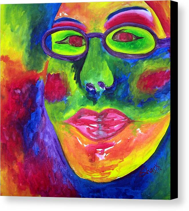 Vivid Portrait Contemporary Canvas Print featuring the painting The Fashionista by Shasta Miller
