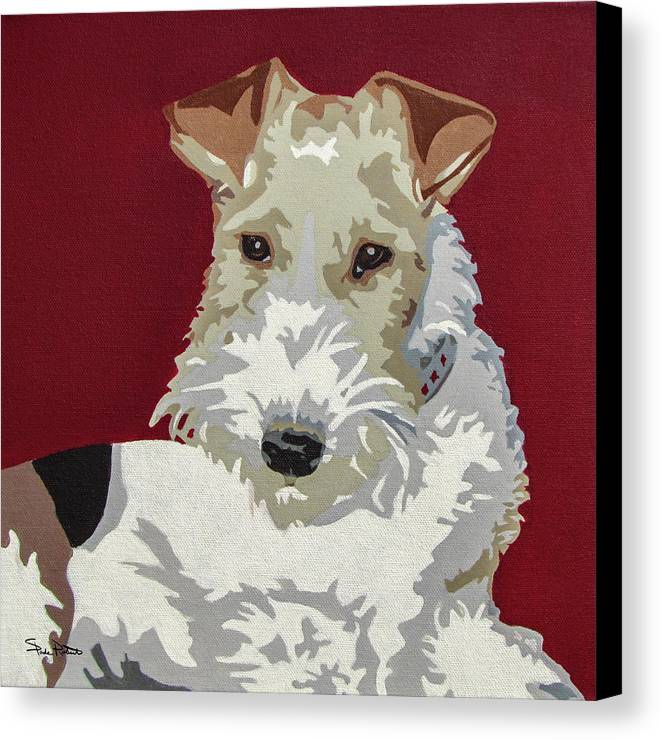 Wire Fox Terrier Canvas Print featuring the painting Wirehaired Fox Terrier by Slade Roberts