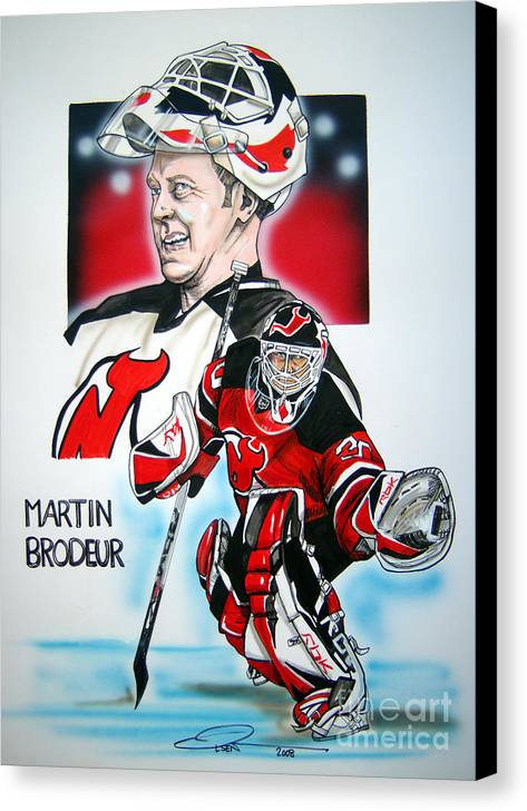 Nhl Canvas Print featuring the painting Martin Brodeur by Dave Olsen