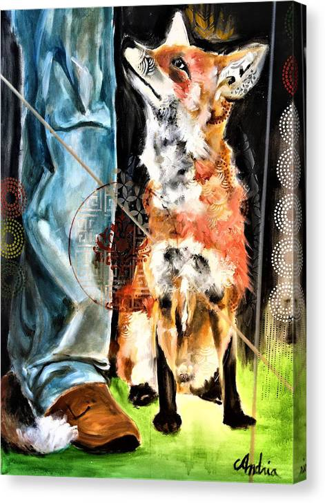 Fox Canvas Print featuring the painting Awaiting His Command by Amoroqie Art