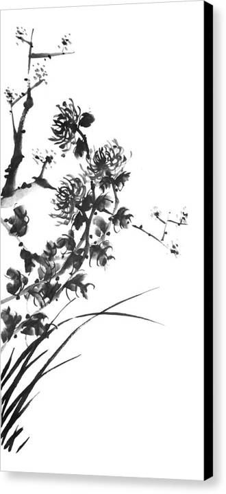 Japanese Canvas Print featuring the painting Chrysanthemum2 by Chang Lee