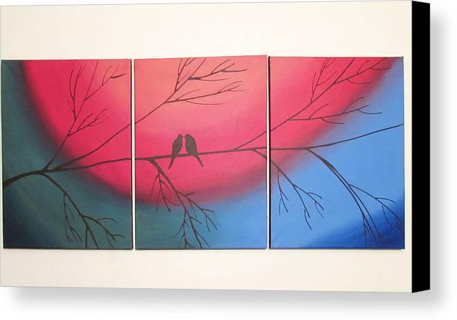 Rainbow Love Bird Landscape Abstract Bird Painting Triptych Nursery ...