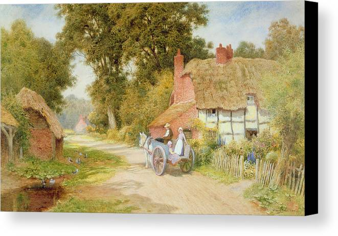 Horse And Cart; Thatched Cottage; Thatch; Half-timbered; Country Lane; Rural; Duck Pond; Ducks; Victorian; Countryside Canvas Print featuring the painting A Warwickshire Lane by Arthur Claude Strachan