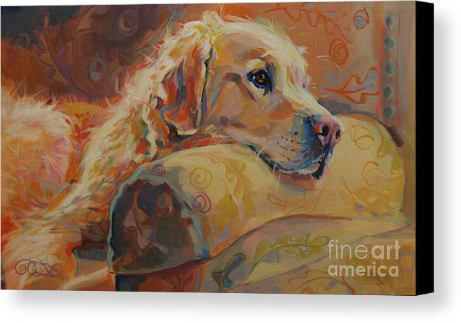 Golden Retriever Canvas Print featuring the painting Daydream by Kimberly Santini