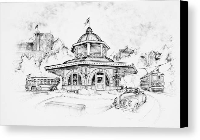 Decatur Transfer House Canvas Print featuring the drawing Decatur Transfer House by Scott and Dixie Wiley