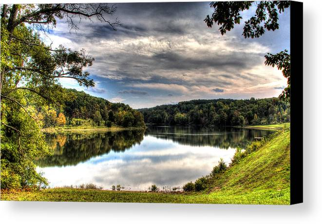 Todd Carter First View Water Saddle Lake Tree Trees Grass Green Yellow Brown Orange Reflection Cloud Clouds Early Fall Canvas Print featuring the photograph First View by Todd Carter