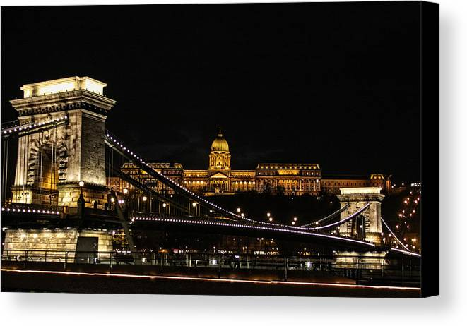 Budapest Canvas Print featuring the photograph Lights Of Budapest by Dave Hall