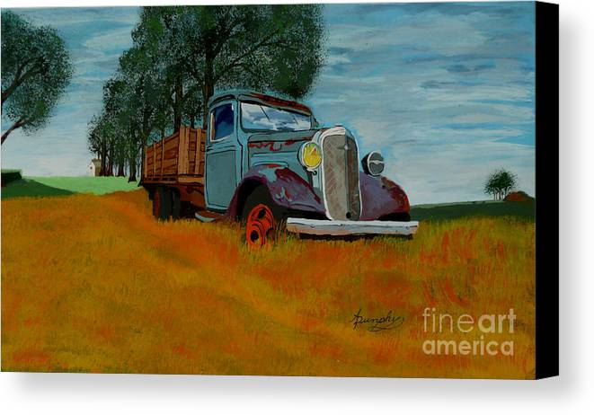Truck Canvas Print featuring the painting Out To Pasture by Anthony Dunphy