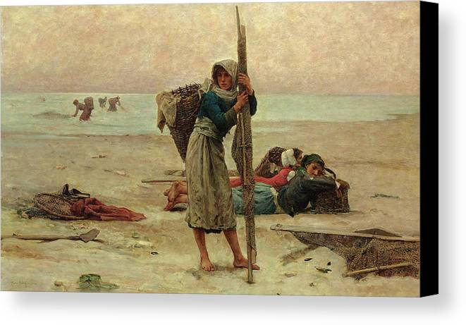 Beach Canvas Print featuring the painting Oyster Catching by Pierre Celestin Billet
