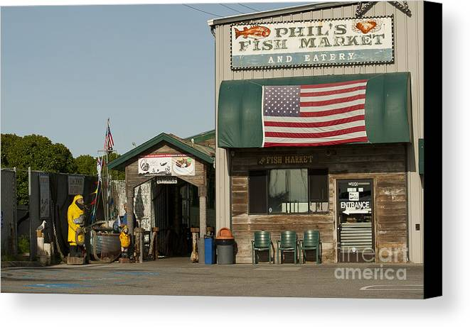 Phils Fish Market Moss Landing Canvas Print featuring the photograph Phils Fish Market Moss Landing by Artist and Photographer Laura Wrede