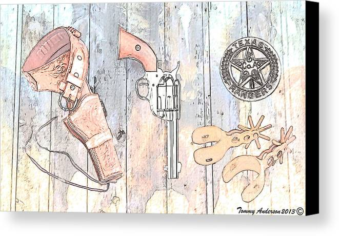 Texas Rangers Canvas Print featuring the photograph Ranger Up - Color by Tommy Anderson