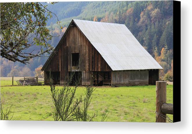 Wood Canvas Print featuring the photograph Sheep Barn by Katie Wing Vigil