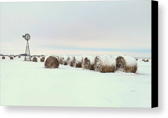 Kansas Canvas Print featuring the photograph Snow Covered Round Bales by Chris Harris