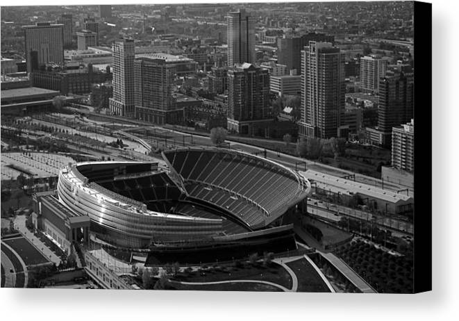Chicago Canvas Print featuring the photograph Soldier Field Chicago Sports 05 Black And White by Thomas Woolworth