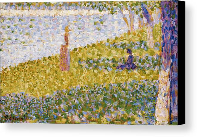 Seurat Canvas Print featuring the painting Women On The River Bank by Georges Pierre Seurat