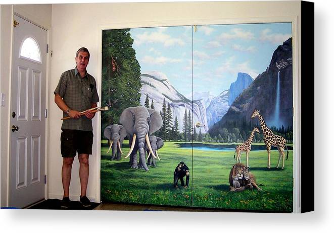 Mural Canvas Print featuring the painting Yosemite Dreams Mural On Doors by Frank Wilson