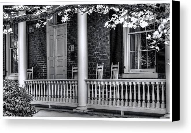 National Register Canvas Print featuring the photograph Avenel Porch - Bedford - Virginia by Steve Hurt