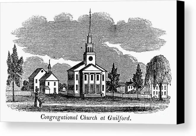 1836 Canvas Print featuring the photograph Connecticut: Church, 1836 by Granger